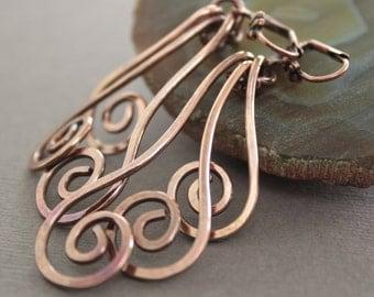 Swirl waves solid copper earrings - long dangle earrings.