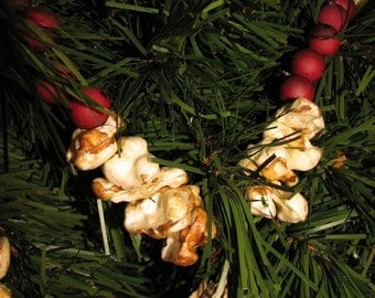 Faux Popcorn, Cranberry Christmas Garlands, For Vintage, Cottage, Traditional,Or Prim Decor