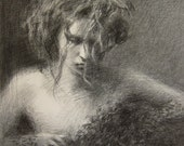 "Black Tulle - Graphite Drawing - Fine Art Print 8"" x 10"" - anabayon"