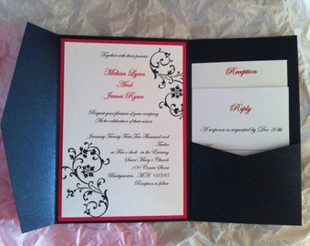 Onyx Black Pocket fold Wedding invitation Set with scrolls and flourises