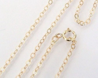 18 Inch - 14K Gold Filled Cable Chain Necklace -  Custom Lengths Available, Made in USA/Italy