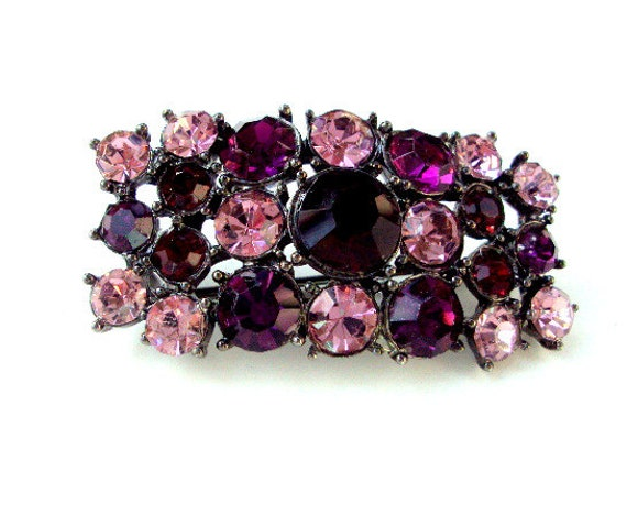 Vintage Rhinestone Brooch, cr. 1970, Faceted and Case Set, Purple, Pink, Cluster, Estate Pin  I Take CREDIT CARDS