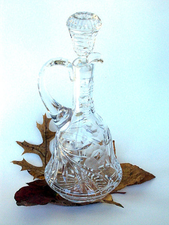 Vintage Lead Crystal Decanter from West Germany. Catherdral Window and Rose pattern. From the Sixties      I Take CREDIT CARDS