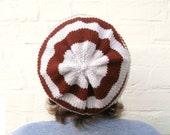 Knit hat, striped winter beanie, womens knitted hat, custom made in any colour.