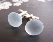 Sea Glass Cuff Links - other colors too - groom - groomsmen - Dad - Fathers Day - Mens wear - Gift for him - Husband -Best Man - bridal