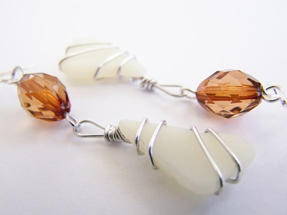 Vanilla and Cocoa Bean - Pale Yellow natural SEAGLASS earrings - gift - beach - unique - ocean - free shipping wia
