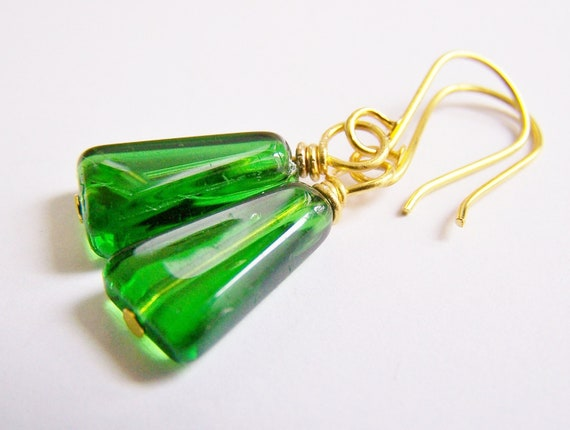 SALE - Evergreen Emerald - rich emerald glass on golden artisan hooks - Last Pair - low prices - affordable gifts - beach - small dangles