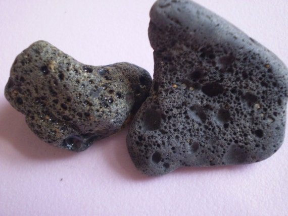 BLACK LAVA STONES - 2 genuine Beach Stones