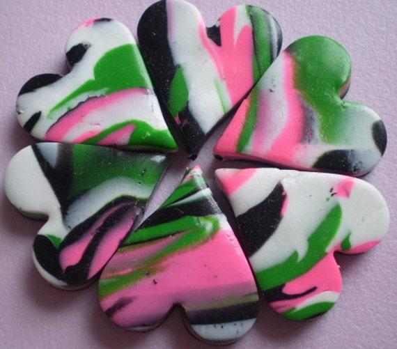 sale - sale - sale - FRESH HEARTS - 6 Polymer Clay Beads