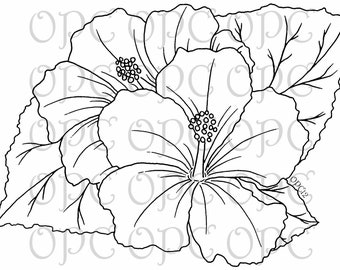 Digital Stamp Hibiscus