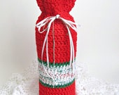ON SALE Wine Cozy Christmas Gift Bag Holly Berry Red Pine Green Sparkly Gold Snow White Bottle Sack Cozee Sleeve Ready to Ship