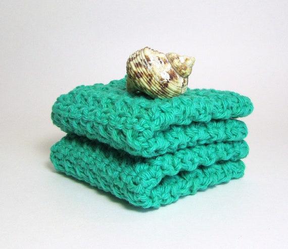 Bath Cloths Peapod Green Crochet Washcloths Kitchen Dishcloths Face Cloths Textured Cotton Cleaning Scrubbies Eco Friendly