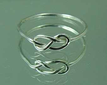 Wedding Sale / Silver Infinity Knot Ring / Promise Ring / Tie The Knot Ring
