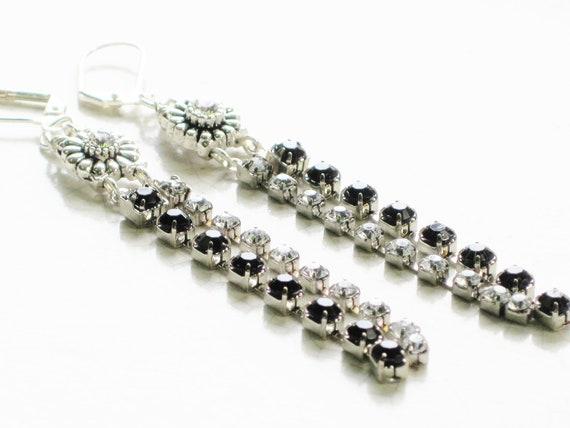 Rhinestone waterfall shoulder duster earrings - black and white rhinestone drops, glam, wedding, black tie