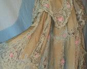Amazing Antique Tape Lace Edwardian Coat with Champagne Velvet and Pink Rosettes 1912 Titanic Era ON HOLD DNP