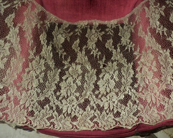 "Antique Silver Metallic Lace Floral Net Yardage Wide 55"" x 23"" Flapper Edwardian Era Restoration Art Deco"