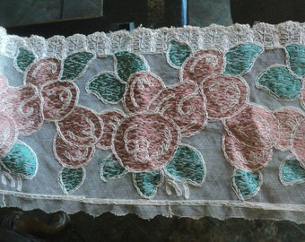 Antique Embroidered Net Tulle Lace Roses Art Deco Wedding Dress Trim Flounce Yardage Wide