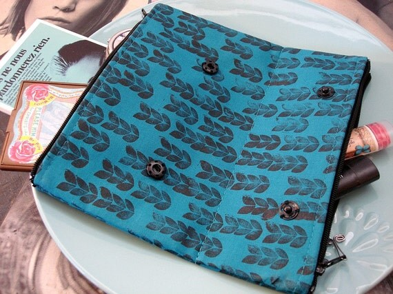 Peacock Blue Knit Hand Printed Small Double Sided Makeup Bag  READY TO SHIP