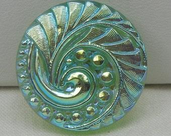 Medium Feathery Swirl Czech Glass Button