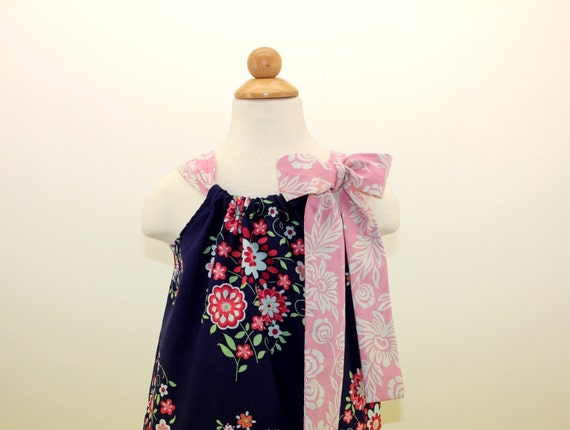 Blue Floral Boutique Pillowcase Dress, Pink, Green, Floral, Size M 3-4 yrs and L 5-6yrs, Ready to Ship for Back to School