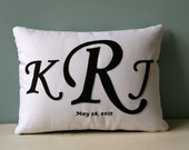 Wedding Monogram Pillow - hand embroidered with the couples monogram