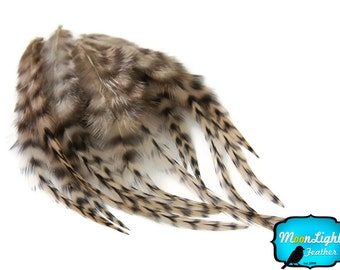 Craft Feathers, 1 Dozen - SHORT TAN Grizzly Rooster Hair Extension Feathers : 759