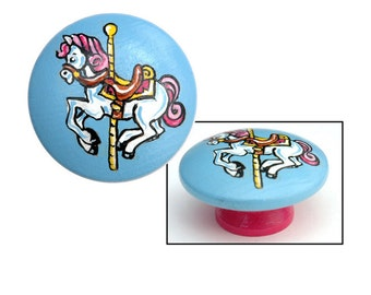 Carousel Horse Knob - Blue and Pink with White Horse