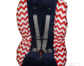 Toddler Car Seat Cover Red Chevron with Navy