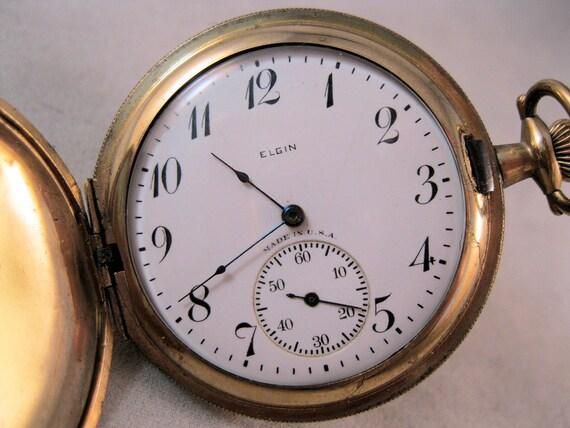 1926 Elgin Hunter Case Pocket Watch Gold By