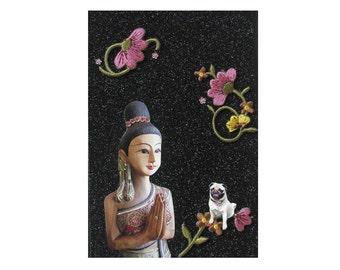 pug, pug portrait,buddha,asian,black,dog art, animal art,home decor, shabby chic pet collage,tagt team