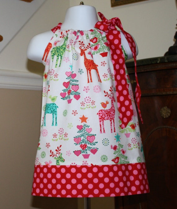 Nordic reindeer toddler girl holiday dress red pink green 0 4t
