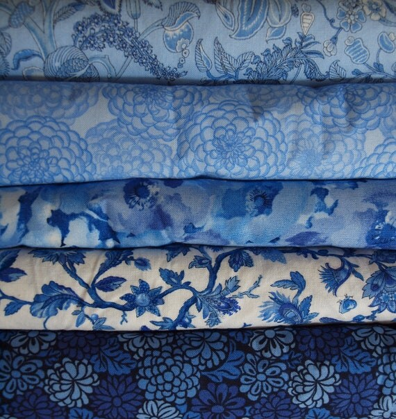 Blue Danube by Fabric Freedom Yard Quilting 5 Fat Quarters (1.5 total yards)