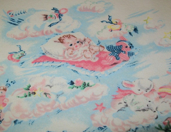 Vintage Baby Print Fabric 1 1 3 Yards Fabric Lullaby