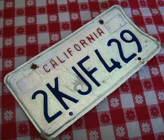 SALE - Vintage California license plate, metal, full size, 1980s, California, souvenir, supplies, white, blue, red