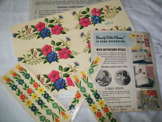 12 Vintage Meyercord Decals, instruction sheet, 1950s, 1970s, decal, Meyercord, floral, decor