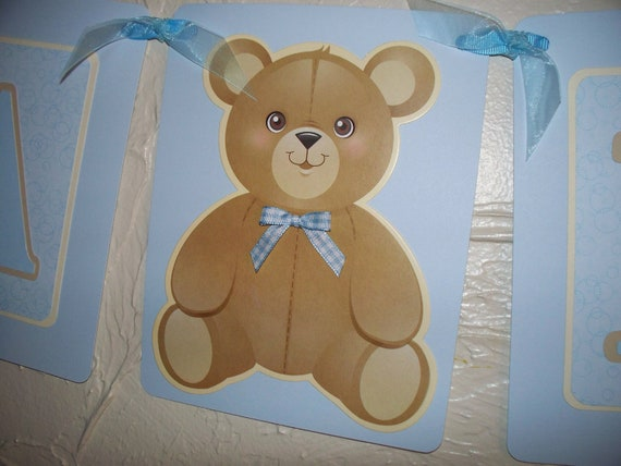 Baby Shower Banner Its A Boy Teddy Bear Themed