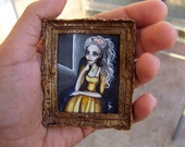 Original Miniature Painting  NOT A PRINT with Gold Frame Sale! 40% OFF ,Small art, Tiny Painting Princess