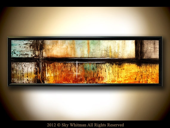 Extra Large Panoramic Fine Art Print FRAMED 13x37 Abstract contemporary of my original  painting by Sky Whitman