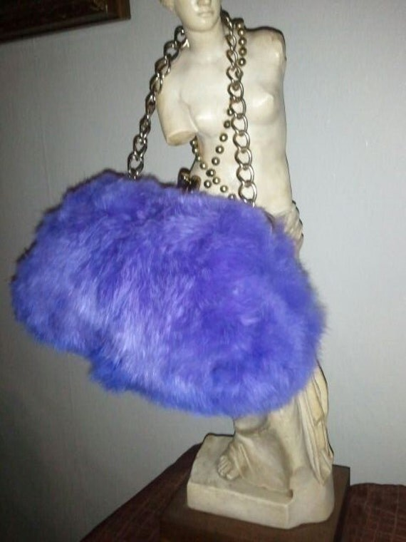 RESERVED Vintage 60s dyed purple Rabbit fur gold chains Mod Go Go purse handbag