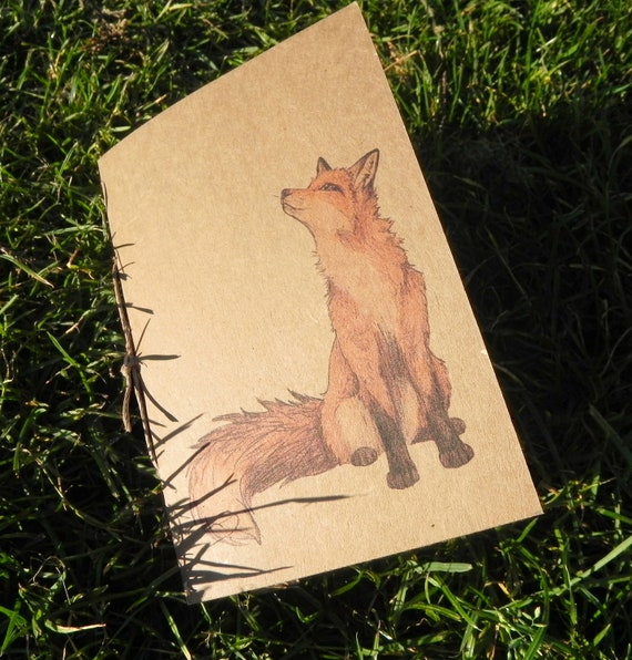 CLEARANCE SALE ~ A6 Fox Journal - Recycled paper mini notebook with plain white paper