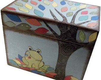 Recipe Box Decoupaged Frog Box Large, Handcrafted Keepsake, Trinket Wedding Organization, Baby Shower, Holds 4x6 Recipe Cards  MADE TO ORDER