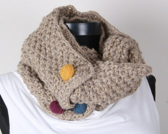 Khaki, scarf , Circle Scarf   Perfect for winter,crochet buttons