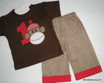 Sock Monkey Shirt and Pants Set