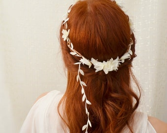 Circlet, wedding floral crown, bridal headpiece, white flower crown, floral head wreath, wedding hair accessories - Dove song