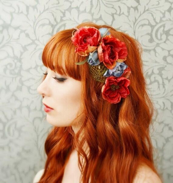 Phoenix - deep red whimsical rose crown