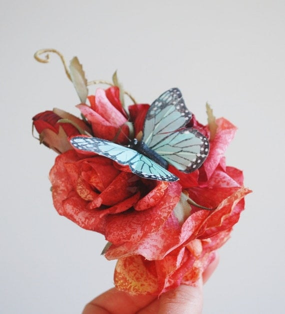Rose hair accessory - Pink skies - butterfly hair clip, woodland wedding
