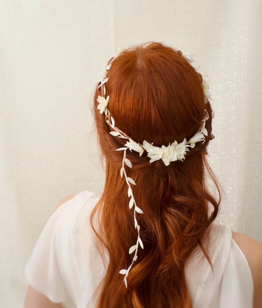 Wedding White Flower Crown: Circlet White Flower Crown Floral Head Wreath By