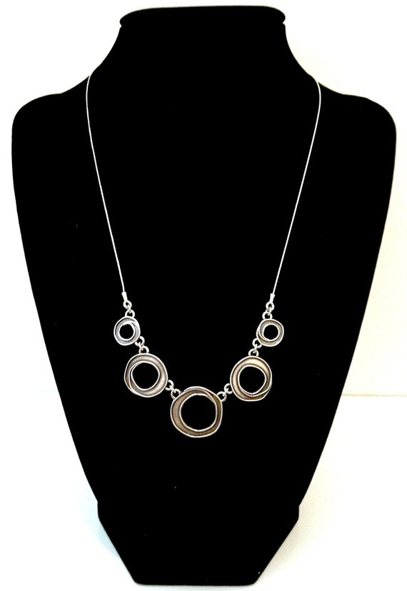 SUPER SALE Modernist Circles Necklace. Sterling Silver 925. Made in Israel