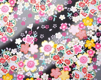 Sakura Cherry Blossom Shaded Black Gray Japanese Cotton  Fat Quarter