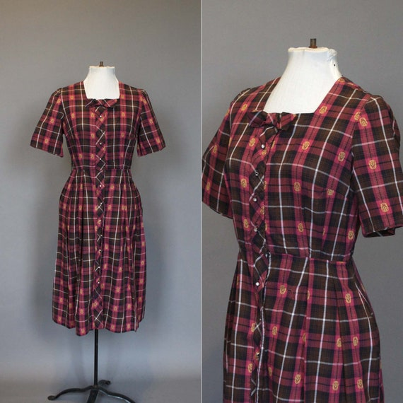 SALE Dress Vintage 50s 60s Plaid Shirtdress 1950s 1960s Day Dress with Bow and Rhinestone Buttons S M